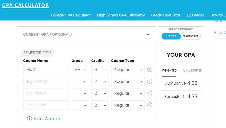 GPA calculator - công cụ hỗ trợ viết bài luận - tính điểm